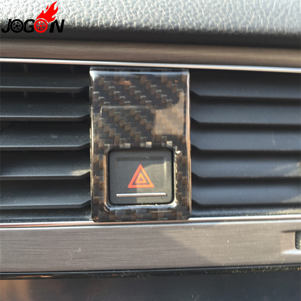 For Volkswagen VW Golf 7 MK7 VII GTI 2014- 2017 Warning Sign Light Emergency Flasher Button Cover Trim Carbon Fiber