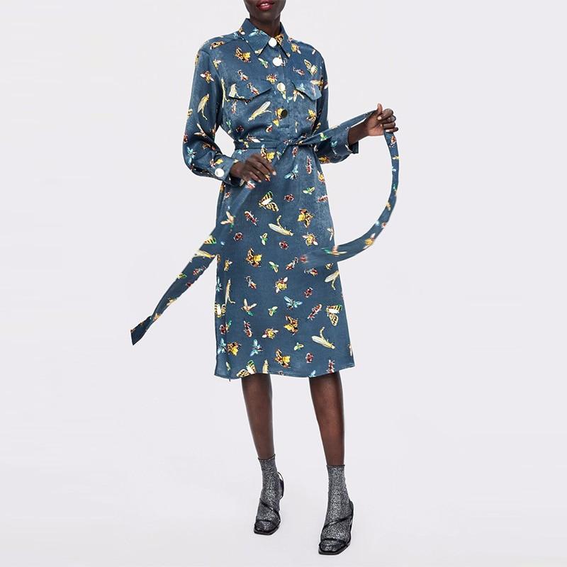 df94ec9fd6896 JuneLove Women Winter Long Sleeve Maxi Dress Vintage Turn-down Collar  Animal Female Long Dress Casual Sashes Lady A-Line Dress