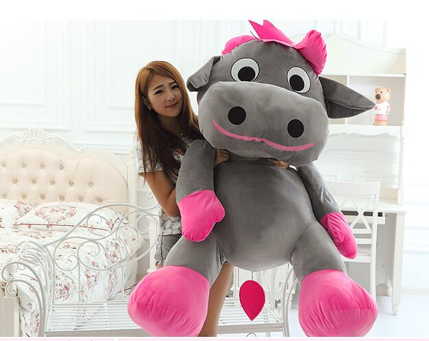 huge 130cm creative cartoon gray cow plush toy dairy cow soft hugging pillow,surprised birthday gift h2986 huge 120cm cartoon fat hippo plush toy soft doll hugging pillow birthday gift w2528