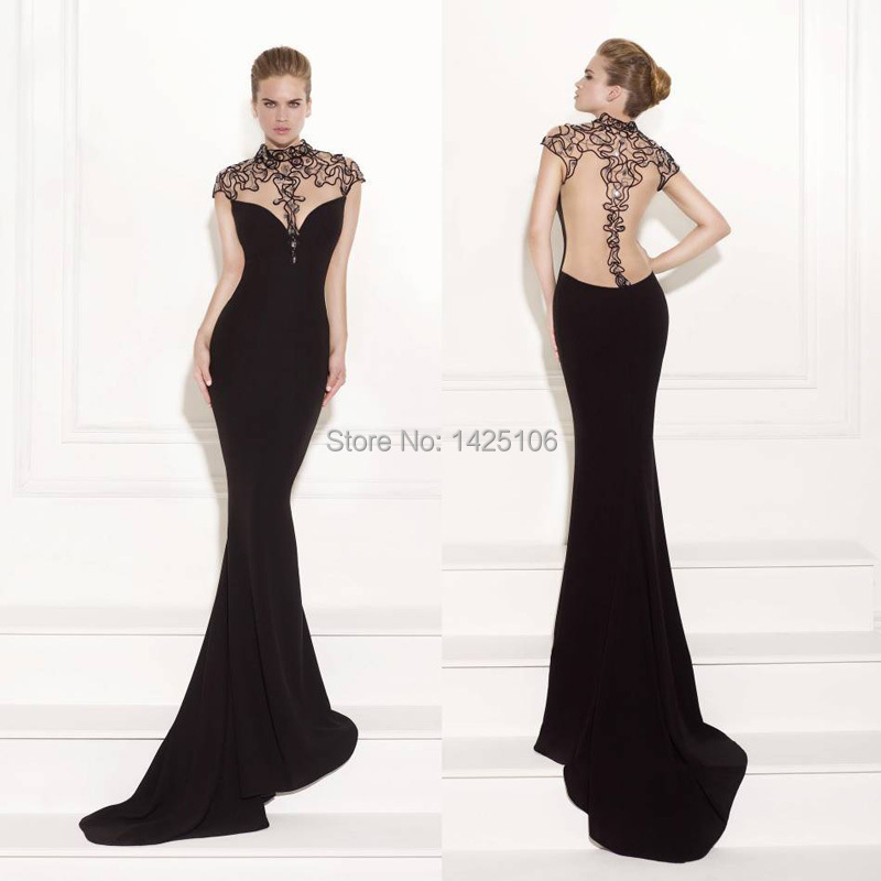 Popular Black Backless Evening Gown-Buy Cheap Black Backless ...