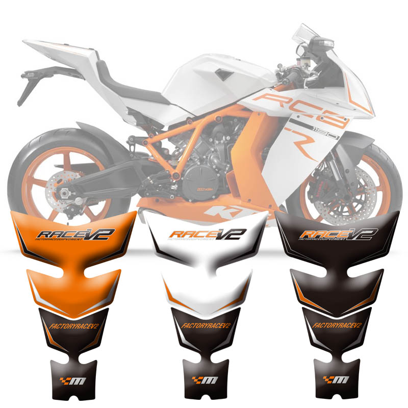 Motorcycle Tank Pad Protector Sticker Fish Bone Sticker 3D Tank Pad For <font><b>KTM</b></font> RC8 1190 <font><b>2008</b></font> - 2015 2009 2010 2011 2012 2013 2014 image