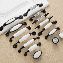 Черно-белые дверные ручки в деревенском стиле, керамические ручки для ящиков, ручки для кухонного шкафа и ручки для мебели