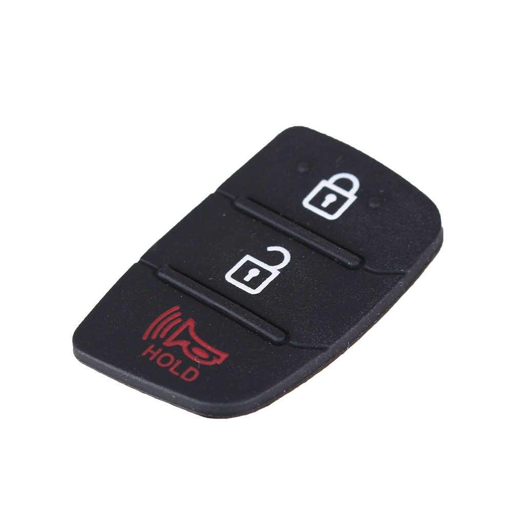 Dandkey 3 4 Düğmeler silikon araba anahtarı kapağı Kauçuk Padbutton Hyundai I30 i35 iX20 Solaris Verna Kia RIO K2 K5 Sportage