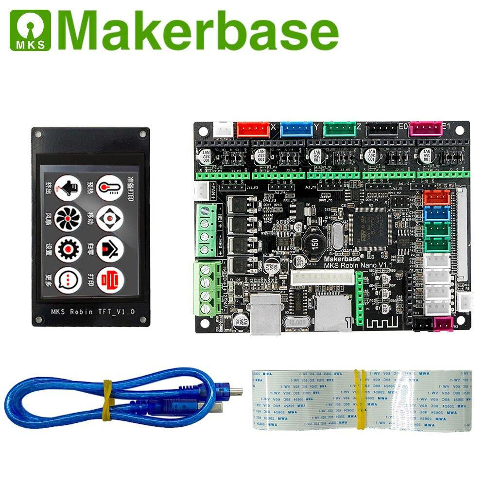 Makerbase MKS Robin Nano 32Bit Control Board 3D Printer Parts Support Marlin2.0  Multi-size Tft Touch Screens Wifi Control