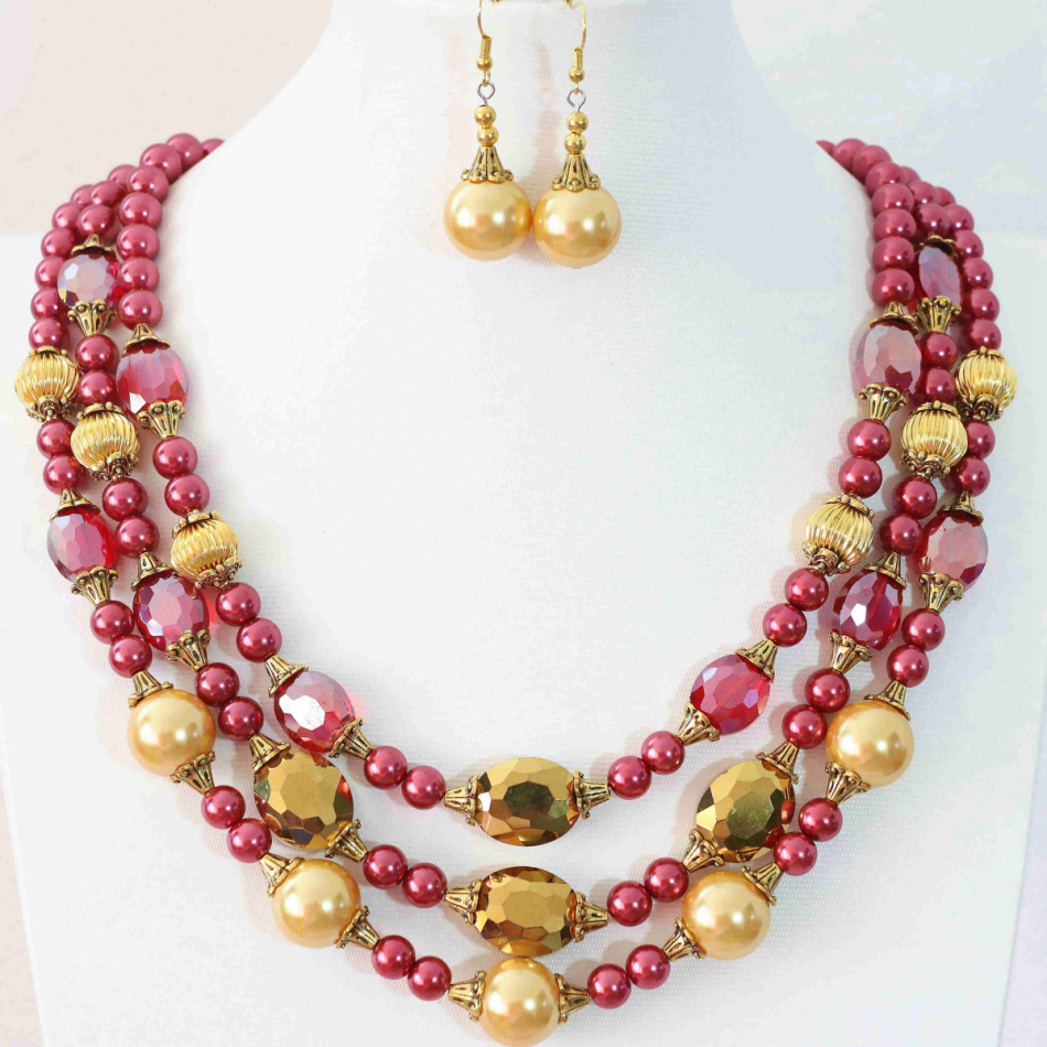 Charms rose red shell simulated-pearl round beads oval crystal newly design earrings 3rows necklace jewelry set 18-22