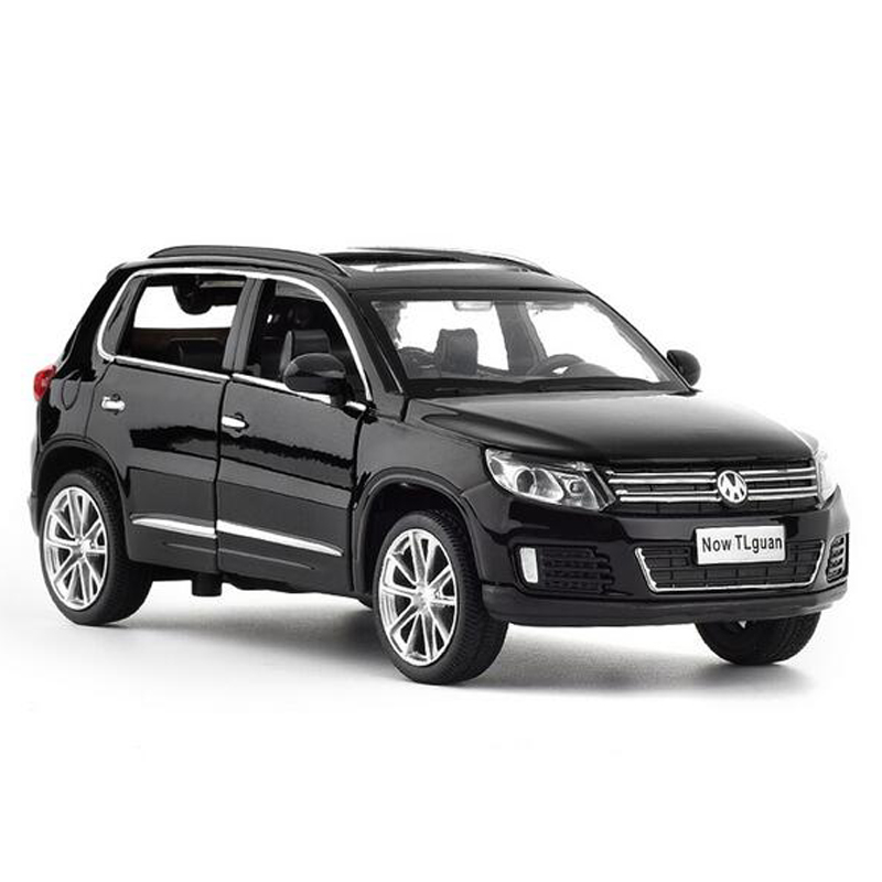 1:32 Metal Toy Car Tiguan SUV Alloy Pull Back Toy Car High Simulation Model Flashing Sound Diecast Metal Toy Vehicle Kids Toys