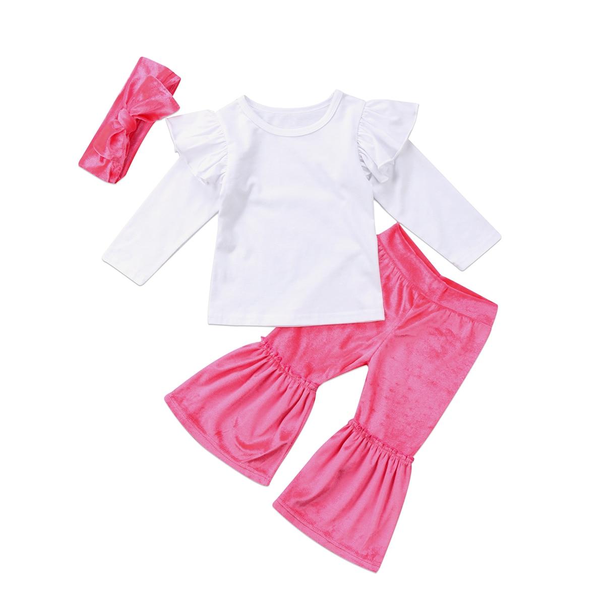 2017 новейшая мода для новорожденных детская одежда для маленьких девочек оборки Топы корректирующие бархат Брюки повязка на голову комплек...