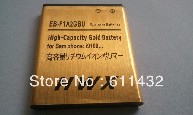 New  EB-F1A2GBU High Capacity Gold Battery For SAMSUNG I9100G i9108 i9188 i9100 S2 i9103 B9062  Free shipping