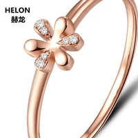 Solid 14k Rose Gold SI/H Natural Diamonds Ring Women Engagement Wedding Ring Fine Jewelry Party Ring Cute Romantic