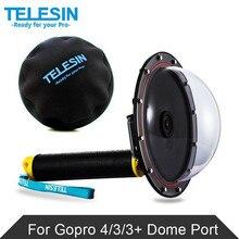"""Original TELESIN 6 """"Domo Puerto Para Gopro Hero3 Gopro, 3 + Héroe 4 Gopro Accesorios de La Cámara de Fotografía Submarina Cubierta Transparente"""