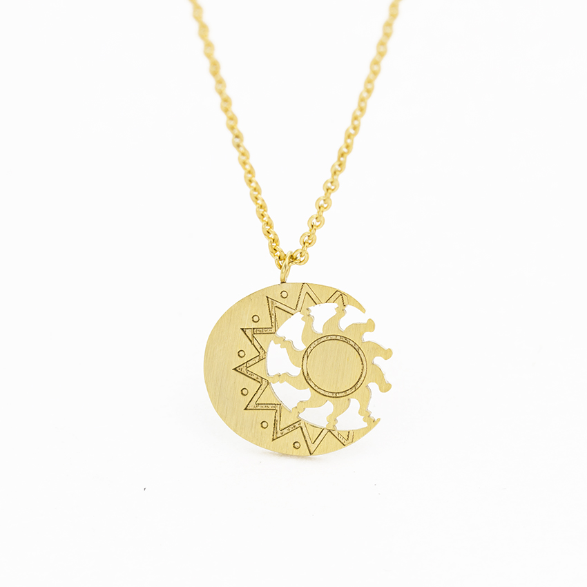 Antique Moon And Sun Charm Necklace Women's Fashion Jewelry Stainless Steel Astrology Tattoo Necklace Collier Bijoux Femme Bff(China)