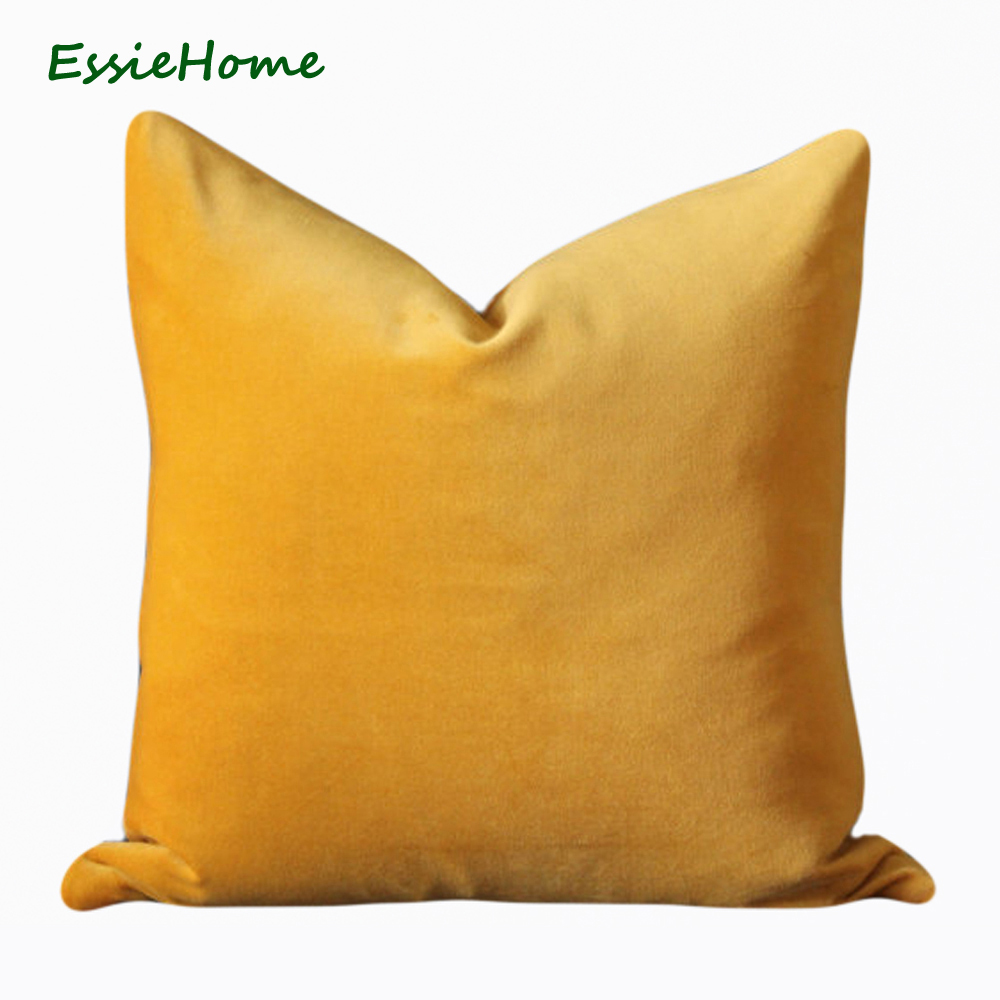 ESSIE HOME Luxury Matte Cotton Velvet Bright Yellow Cushion Cover Pillow Case Lumbar Pillow Case