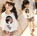 2 pçs/set Bebê Coreano Camisa Bat Meninas T-shirt Branca + Flor Shorts Calças Da Menina Das Crianças Traje Avatar Moda Roupas Das Meninas