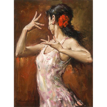 Woman Dancer Wall Decor Living Room Art Pure Handmade Oil Painting on Canvas High Quality Stretched On Wooden Home