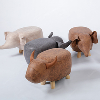 Nordic Animal Elephant Cow Stool Wooden Modern Wood Sofa Footstool Small Chair Living Room Bedroom Bench Children Kids Furniture