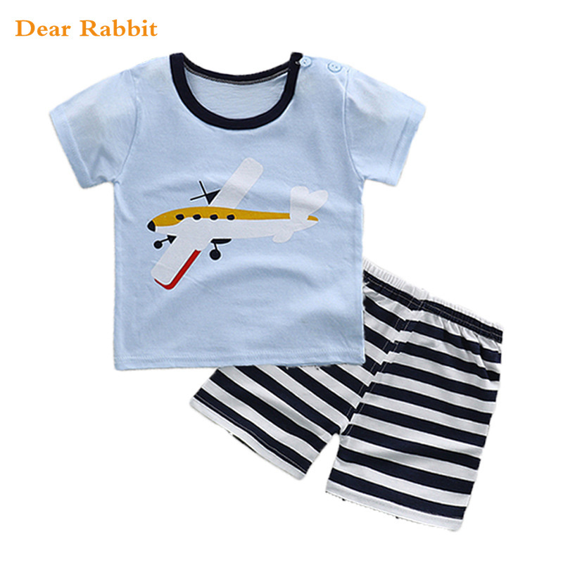 1-4Years Boys Suits 2018 New Cartoon Summer baby boy girl Clothes T-shirts Shorts Children Clothing Set Cotton Kids Outfits suit summer baby boys clothing set cotton animal print t shirt striped shorts sports suit children girls cartoon clothes kids outfit