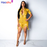 HAOOHU deep V neck sexy short jean jumpsuit rompers Women blue hollow out bodycon playsuit Summer female club denim overalls