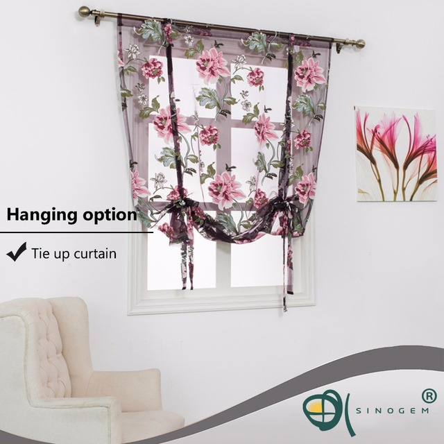 Kitchen short sheer burnout roman blinds curtains peony sheer panel tulle window treatment door curtains home decor rideaux