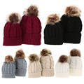 2 PCS Mom Baby Kid Warm Raccoon Fur Bobble Beanie Cotton Knitted Parent-child Winter Hat Color Red Black White Khak Gray