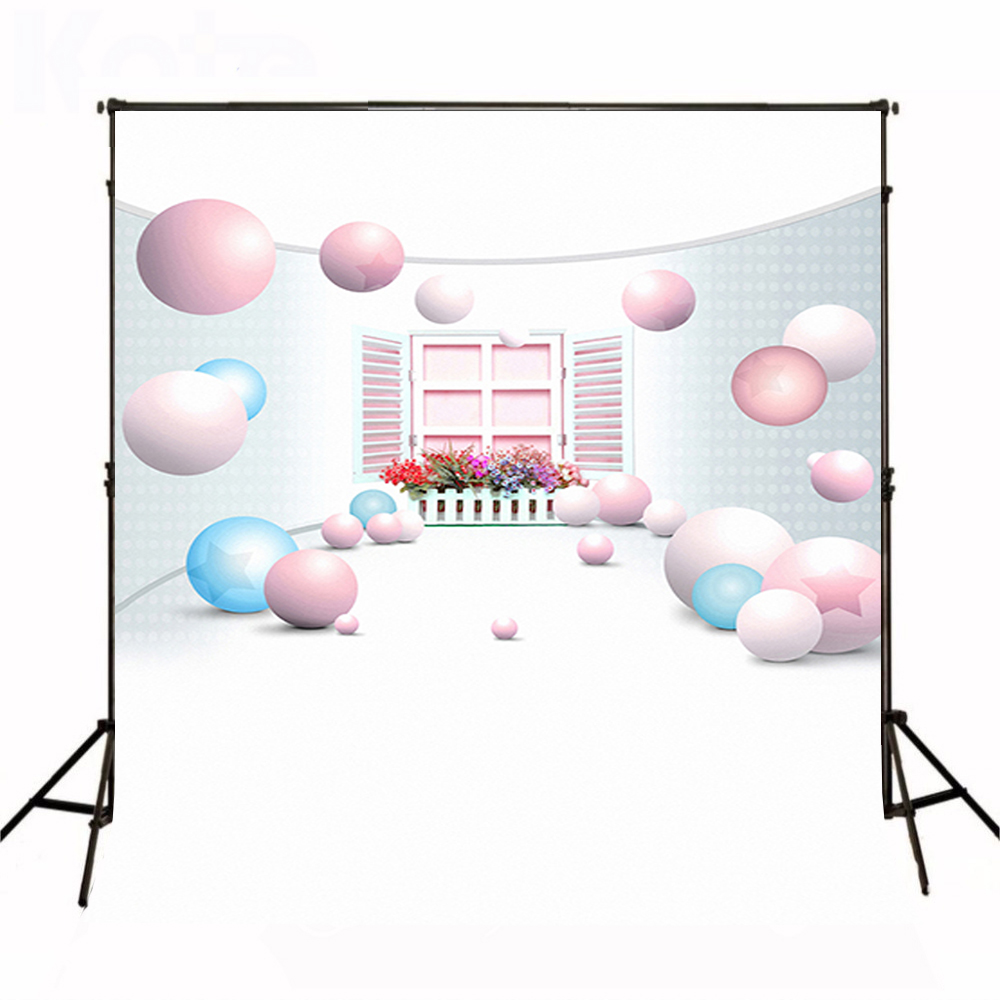 Wedding Photography Background Pink Blue Ball Photo Booth Backdrop Red Flower Window Fence Background for Photography Studio