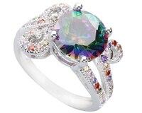 Palatial Multi-Color Rainbow Stone 10*10mm Semi-precious Stone Silver Cool For Women Ring Q1812