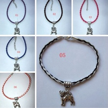Hot ! 1 pcs Handmade Staffy Dog Leather Bracelet & Charm Staffordshire Bull Terrier Staffie 19cm  za416