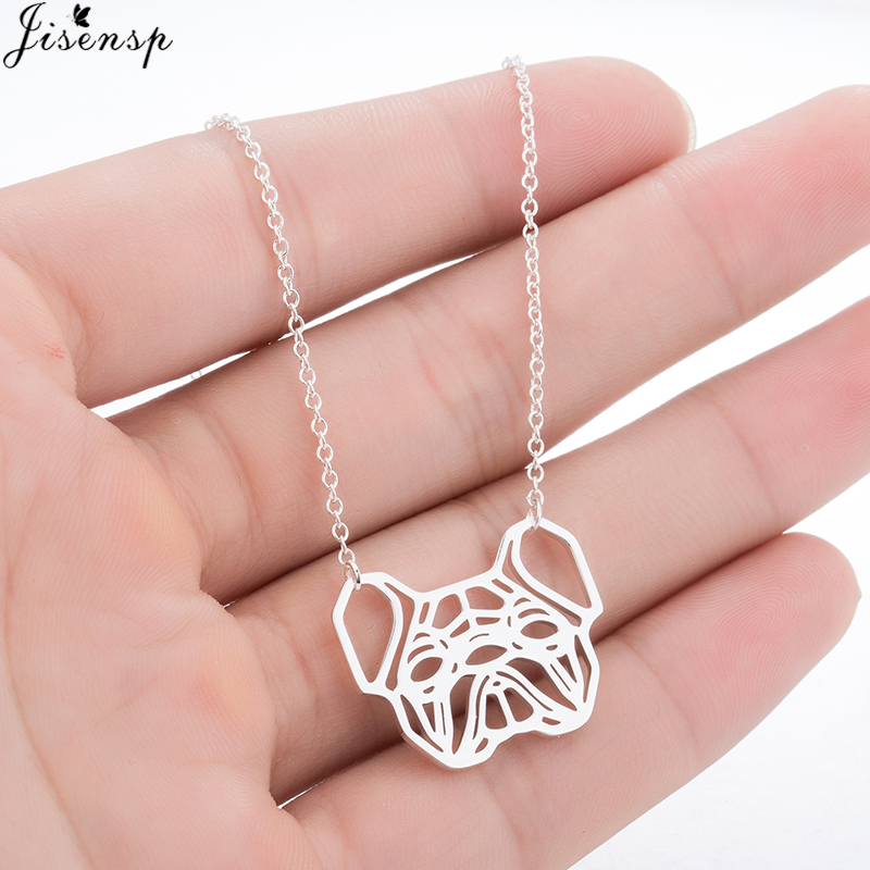 Jisensp Unique Design French Bulldog Necklace Silver Fashion Women Hollow Origami Puppy Dog Necklace Animal Jewelry Gift collier