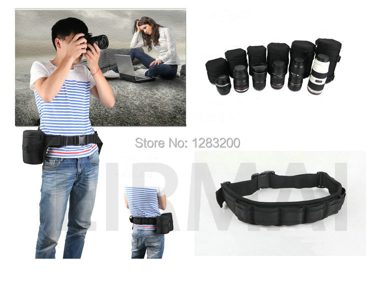 6 Lens Bag + 1 Waist Belt DSLR Camera Lens Protector Pouch Case Bag For Camera waist bag