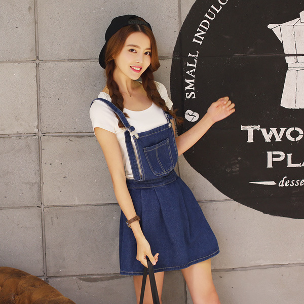 3d0040c666  YYW New Arrivals Women s Blue Denim Suspender Skirt Girls Junior s Fashion  Sexy Slim Jeans Overall Short Mini A-line Skirts