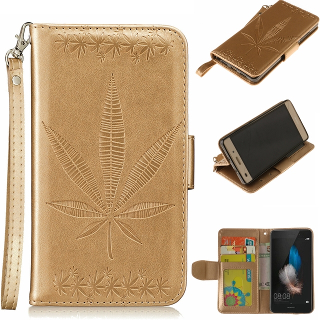 Luxury For Kape Huawei ALE-L21 Cover quality Phone Case Flip Wallet Leather Maple Leaf Case For Huawei P8 Lite Photo Cover