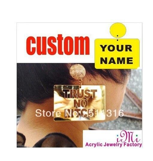 Кнопка золото Доверие Нет Сука Стиль Пользовательское Имя Серьги