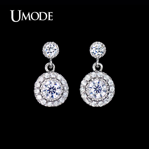 UMODE Brand White Gold Color Stud Earrings With AAA CZ Earring For Women orecchini Cheap Jewelry Stores Mother Gift New AUE0097