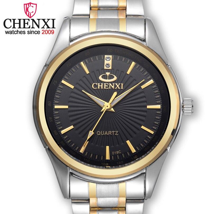 CHENXI Brand Fashion Luxury Watch Men Casual Stainless Steel Gold Gift Clock Quartz Male Wristwatch Relogios