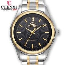 Chenxi marca de moda de lujo casual hombres del reloj de oro de acero inoxidable reloj de cuarzo hombre reloj relogios masculinos regalo famosas