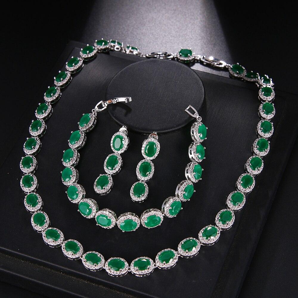 Hermosa Beautiful Jewelry Sets SapphireRubyEmearldTopaz 925 Sterling Silver Choker Necklace Earrings Bracelet Gift For Women