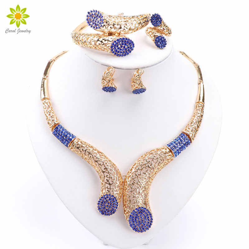 New Sale!! Dubai African Gold Color Necklace Earrings Costume Jewelry Sets Women Wedding Jewellery