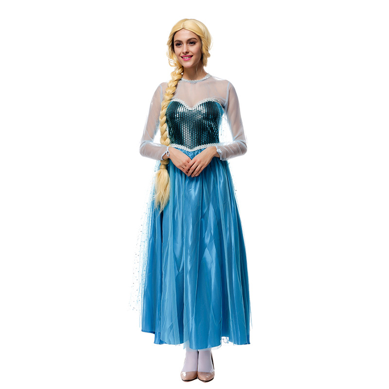 Adult Womens Princess Elsa Costume Cosplay Party Gown Fancy Dress Outfit