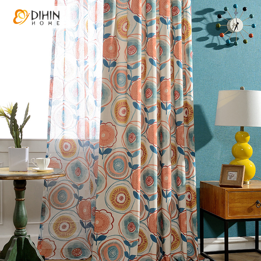 dihin unid colores modernos voile cortinas cenefas puerta cortina de la ventana balcn cortina