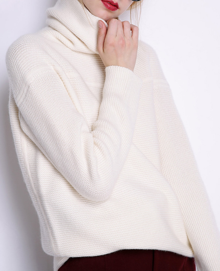 BELIARST New Autumn and Winter Cashmere Sweater Women's High Collar Thick Solid Color Sweater Loose Knit Sweater Wild Pullover 18