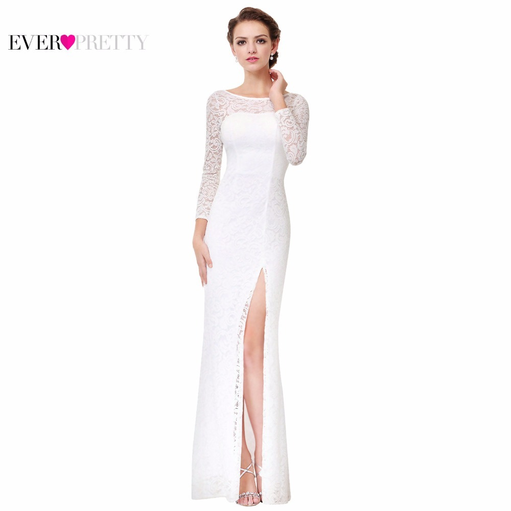 558f6c5d44eb4 US $25.49 49% OFF|Robe De Soiree Blanche White Lace Evening Dresses 2019  Ever Pretty EP08883 Unique Side Slit Design Formal Long Evening Dresses-in  ...