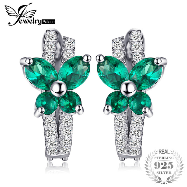 Jewelrypalace Erfly 1ct Nano Russian Created Emerald Clip On Earrings Solid 925 Sterling Silver Jewelry Fine