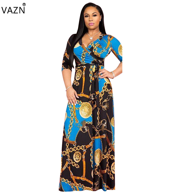 Women's Clothing Vazn Top Quality Novelty Design 2019 Women Print 3 Color Lace Up Long Dress Lady V-neck Half Sleeve Hollow Out Dresses Trs913 50% OFF