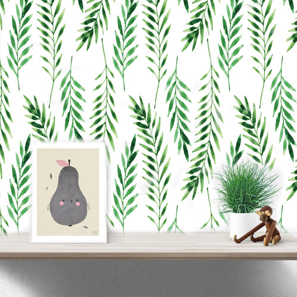 30pcs Nordic Simplicity Green Leaf Wall Stickers Fresh Background Decoration Sofa Bedroom Study