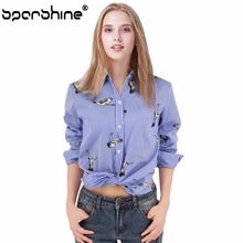 SPARSHINE Blusas Mujer De Moda 2017 Shirt Women Blouses Long Sleeve Office Shirts Pigeon Printed Tops Blouse Chemise Plus Size
