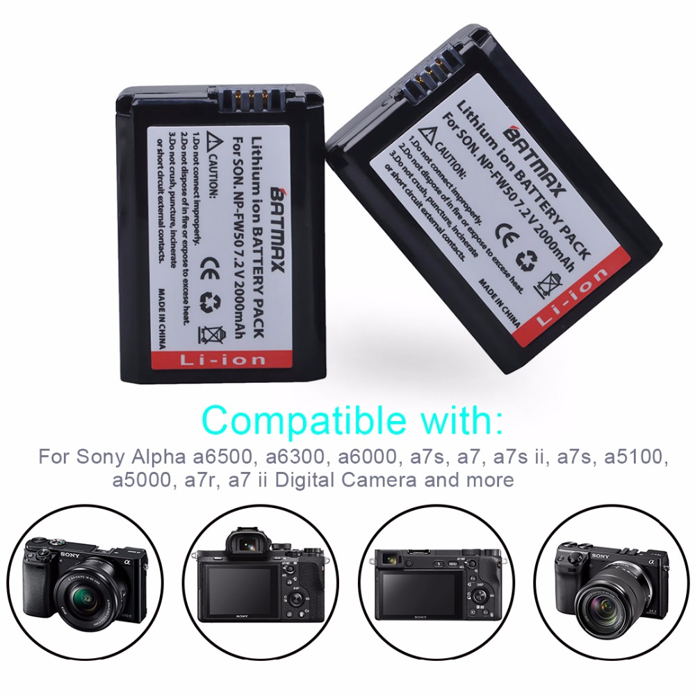 Image 5 - 4pc NP FW50 NP FW50 FW50 Battery+LCD USB Dual Charger for Sony A6000 5100 a3000 a35 A55 a7s II alpha 55 alpha 7 A72 A7R  Nex7 NE-in Digital Batteries from Consumer Electronics