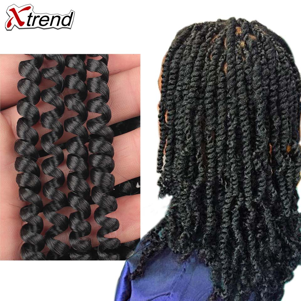 Xtrend Spring Twist Hair Extension Meche Crochet Braid Tresse Crotchet Braids Kinky Passion Twist Curly Synthetic 1 To 10 Pcs