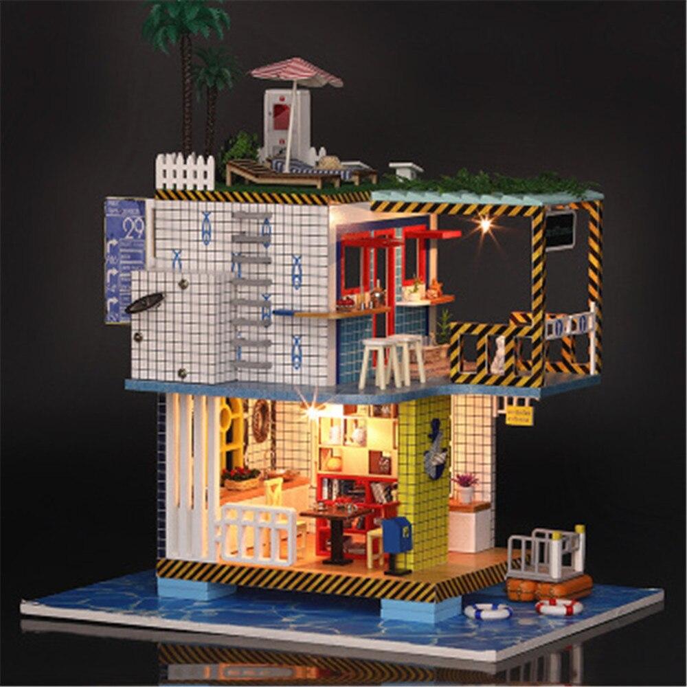 Style américain bricolage Mini maison de poupée jouets avec lumière LED à la main C maison meubles Kit en bois jouets pour enfants maison classique