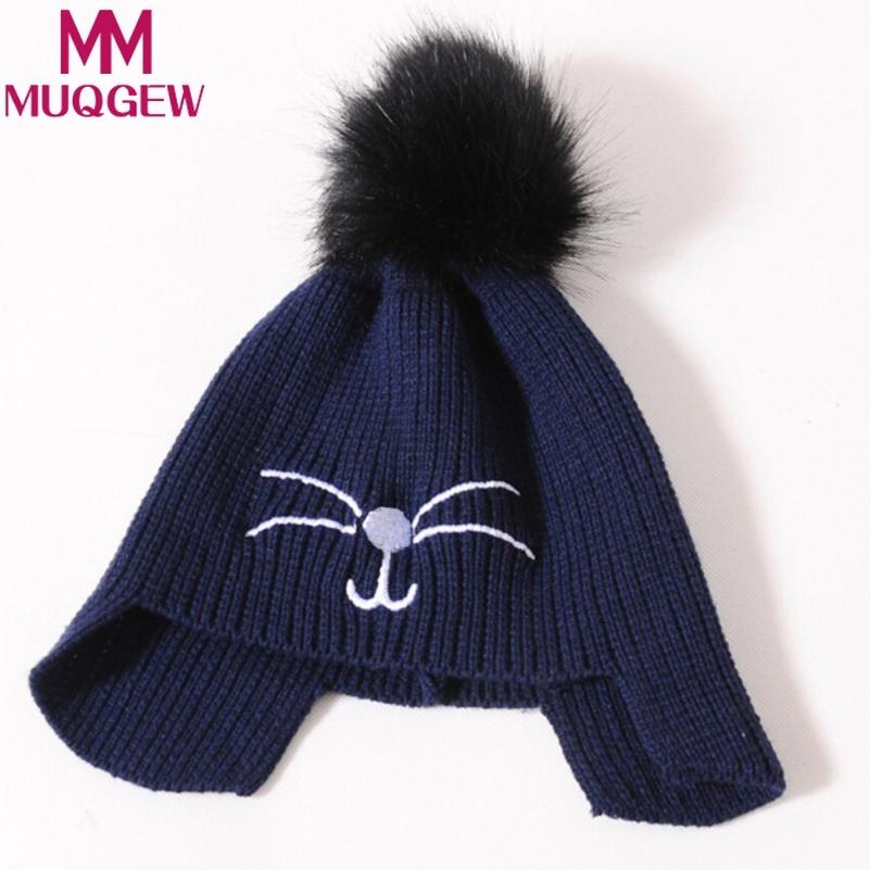 Muqgew Cute Baby Earflap Toddler Girl Boy Kids Cap Warm Soft Beanie Hats Cat Newborn Photography Accessories Hairband Bonnet Buy One Get One Free Hats & Caps