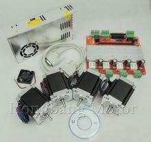 Бесплатная доставка ЧПУ 4 Оси Маршрутизатор Комплект, nema23 270 Oz в шагового двигателя + ЧПУ 4 Оси TB6560 Драйвер Шагового Двигателя + питание