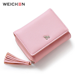 WEICHEN Tassels Zipper&Hasp Women Wallet For Coin Card Cash Invoice Fashion Lady Small Purse Short Solid Female Clutch Carteras